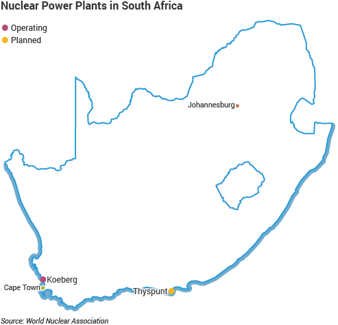 Nuclear Power Plants in South Africa map