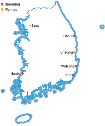 Nuclear Power Plants in South Korea map
