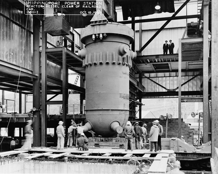 Installation of the reactor vessel at Shippingport the United States first commercial nuclear power plant