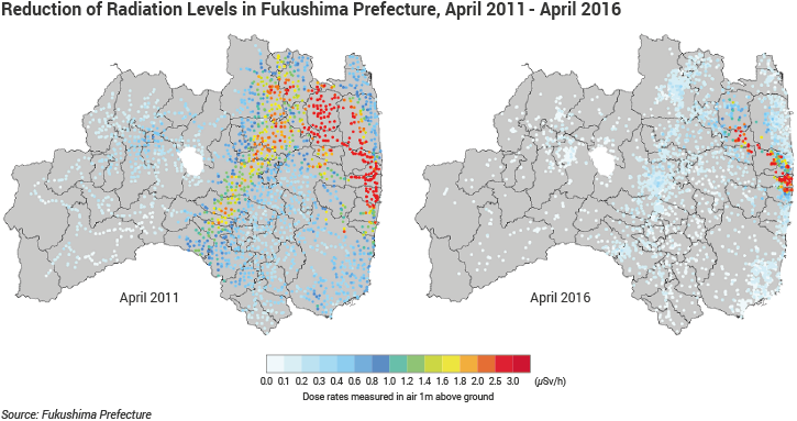 Reduction of Radiation Levels in Fukushima, April 2011 - April 2016