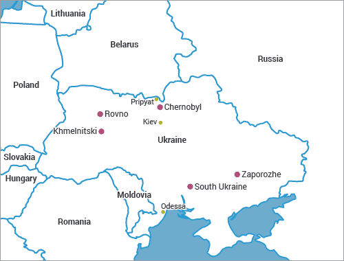 Location of Chernobyl and other nuclear power plants in Ukraine