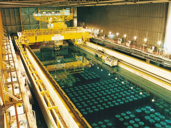 Storage pond for used nuclear fuel at the Thermal Oxide Reprocessing Plant (Thorp) at Sellafield in the United Kingdom