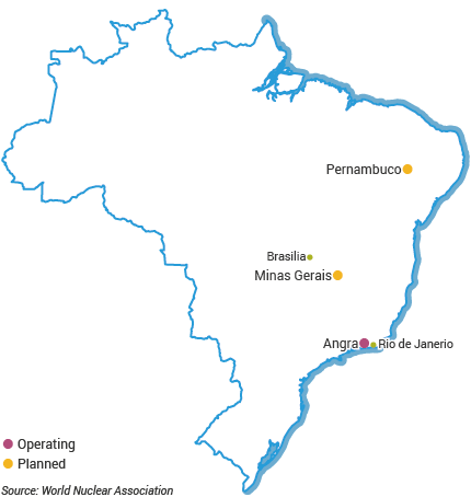 Nuclear Power Plants in Brazil map